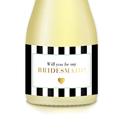 Will You Be My? Bridal Proposal to Bridesmaid, Maid Matron of Honor, Set of 10 Mini Champagne or Wine Bottle Labels 3.5