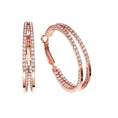 14K Rose Gold or Rhodium Plated Double Inside Out J-Hoop Earrings with White Crystals, 40mm (Hoop Double White Gold)
