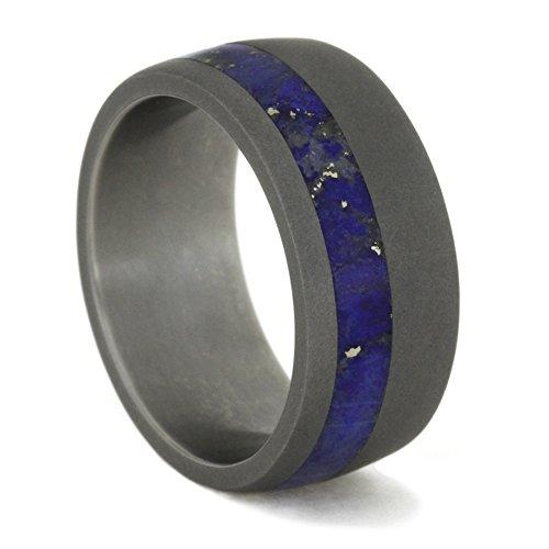 Lapis Lazuli Inlay 9mm Comfort-Fit Sandblasted Titanium Band, Size 15.75