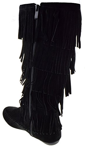 Forever Candice 88 Womens Comfort Layer Fringe Moccasin Knee High Boots Black Vq6crSi6na