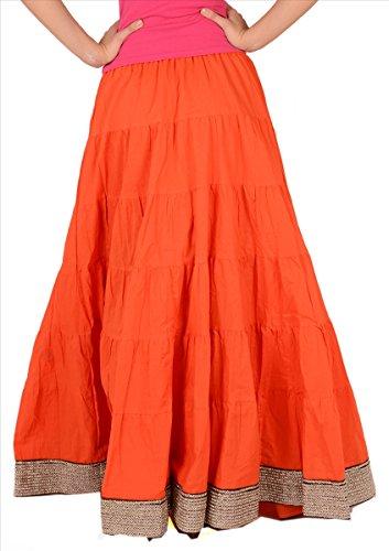 femme 2 pour bordure coton avec Noir en Jupe longue Red qzHYxwZyg