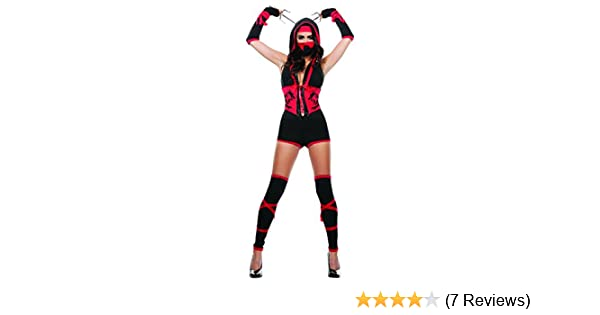 Starline Womens Red Dragon Sexy Ninja 4 Piece Costume Set with Mask