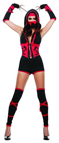 Starline Women's Red Dragon Sexy Ninja 4 Piece Costume Set with Mask, Red/Black, Large