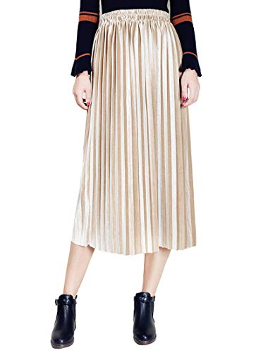 Clarisbelle Women Pleated Velvet Skirt Midi Skirt Premium Metallic Shiny Shimmer Accordion Elastic High Waist Skirt (Large, Golden)