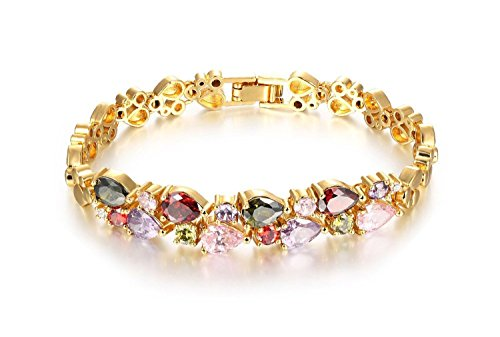 18K Multi-Gemstone and Diamond Tennis Bracelet Gold Heart Bracelets For Women Lady Girl