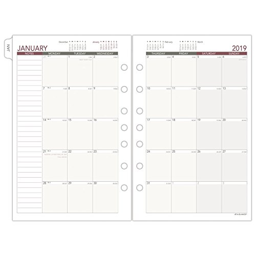 (AT-A-GLANCE 2019 Monthly Planner Refill, Day Runner, 5-1/2