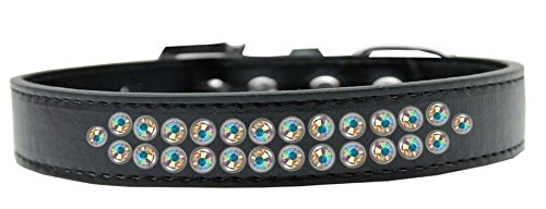 Mirage Pet Products Two Row AB Crystal Black Dog Collar, Size 20 by Mirage Pet Products