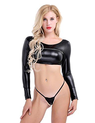 YiZYiF Women's Faux Leather Zipper Crop Top Mini G-String 2 Pieces Outfits Set Black Medium