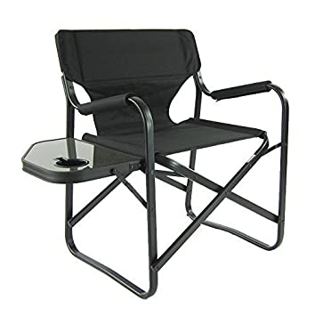Onway Outdoor Furniture Aluminum Portable Folding Director Chair with Side Table, Camping Chair Director Chair Outdoor Chair Garden Chair Tailgating Event, Black