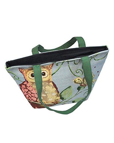 Borsetta borsa da spiaggia, shopping, importata da Tailandia, multicolore, motivi Gufi (42274)