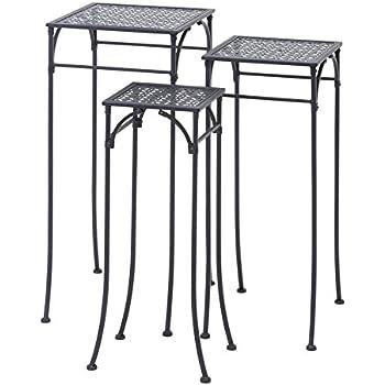 Deco 79 65798 3-Piece Metal Plant Stand Set, Square