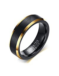 6mm Brushed Finish Tungsten Carbide Two-tone Black Gold Wedding Engagement Promise Ring Bands for Men
