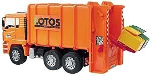Bruder 2762 - Camión de basura MAN (incluye 2 contenedores), color naranja