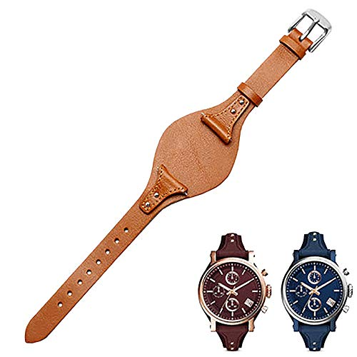 Span Realm Women's watchband Genuine Leather Strap Colors Fossil ES4114 ES4113 ES3625 Replacement 18mm (Light Brown-Silver Clasp, 18)