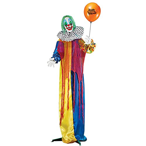 Collections Etc Animated Creepy Clown Life Size Halloween Décor, Outdoor or Indoor, Motion-Activated Sound -