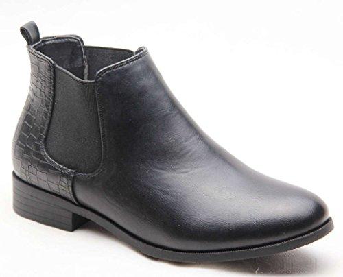 Élastique De Taille Bottes À Femmes Chelsea La De Travail Uk Pu Dames Noir Plat Les Sur Cheville Chaussures Traction Casual wISIPq