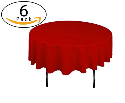Minel Disposable Party Table Cloths Round 84 Inches 6 Pack Red