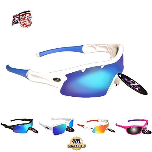 Rayzor Lunettes de soleil professionnelles légères pour sport avec verres bleus aérés en iridium anti-reflets Blanc UV400