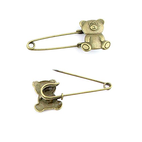 80pcs Jewelry Making Charms Jewellery Charme Antique Bronze Brass Tone Findings Lots Bulk Supply Supplies Repair Vintage Retro HV059 Teddy Bear Pin Brooch