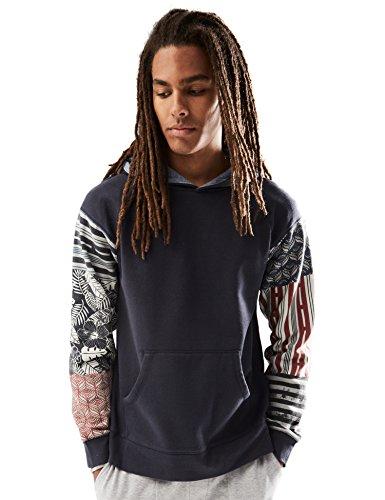 Rebel Canyon Young Men's Printed Patchwork Sleeve Hoodie Sweatshirt