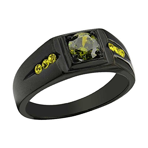 FlameReflection Black Stainless Steel Olivine Green Round Cut Cubic Zirconia Men's Ring Size 13 SPJ