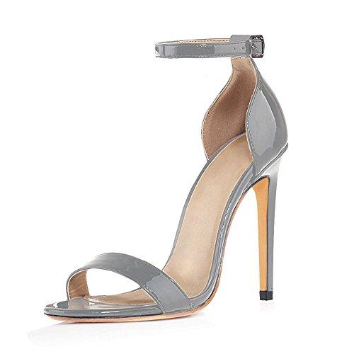 uBeauty Womens High Heel Sandals Ankle Strap Open Toe Buckle Heels Slingback Stiletto Heels Sexy Shoes Gray