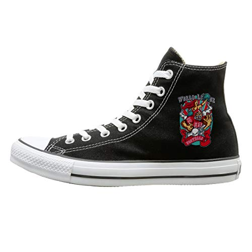 (Aiguan Rugby Canvas Shoes High Top Design Black Sneakers Unisex Style)