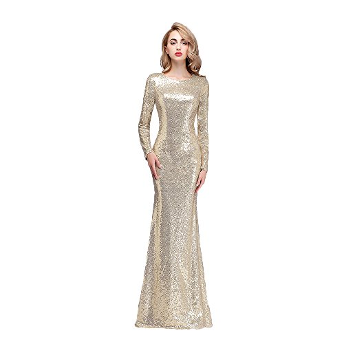 Honey Qiao Champagne Modest Bridesmaid Dresses Long High Back Prom Party Gowns