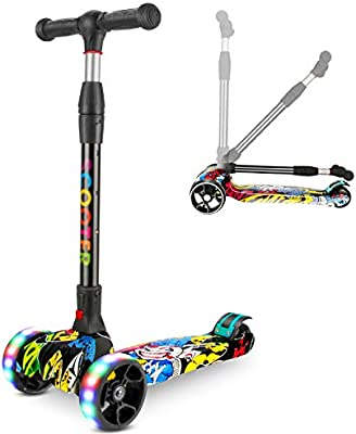 Patinete Scooter, Scooter Ruedas iluminadas con Luces LED Patinete Plegable con Altura Ajustable 63-80cm Gran Regalo