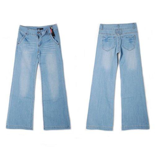 Estiramiento Evasé Vaqueros Pierna Pantalones Mezclilla Ancha Azul Casuales Extra Claro de Mujeres Talla Tookang Sin de UxOw8gnq