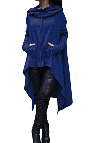 YMING Fashion Solid Color Draw Cord Coat Hi-Low Asymmetric Hem Pockets Pullover Blue L