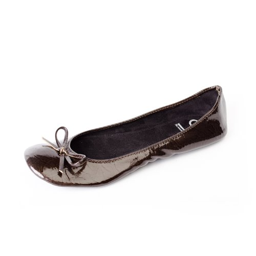 47fc4a76470 Bailarinas Plegables de Mujer con nastro lucido en colore marron con la  bolso del zapato de