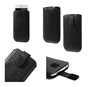 DFV mobile - Leather Pouch case Pocket Sleeve Bag with Velcro for => Celkon Millenia Elite Q470 > Black