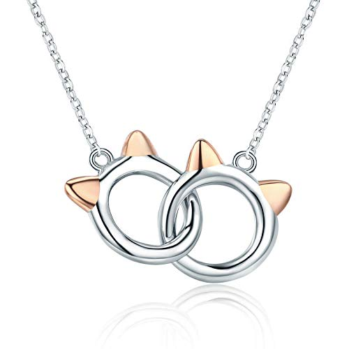 Abalone Iris (925 Sterling Silver Lovely Double Cats Kittys Rose Gold Pendant Necklace Chain)