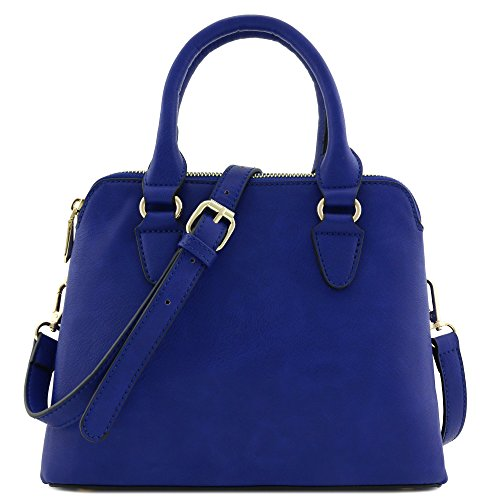Classic Double Zip Top Handle Satchel Bag Dark Blue