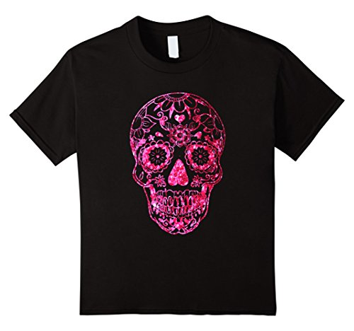 Kids Sugar Skull Pink Glitter T-Shirt Halloween Costume 10 Black - Pretty Sugar Skull Halloween Costume