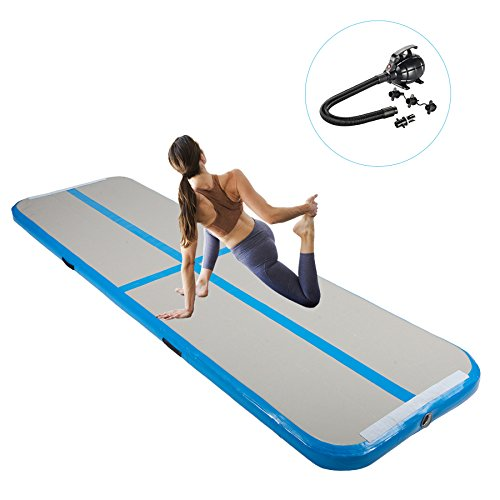 Pinty Inflatable Gymnastics Air Track Tumbling Mat Air Tumbling Floor Mats w/Electric Pump for Home Use, Beach, Park and Water (10 ft long x 3 ft wide x 4 in thick) - Air Track