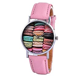 Wal-Joy Girls Cookie Cake Printing Dial Leather Band Stainless Steel Back Students Watch