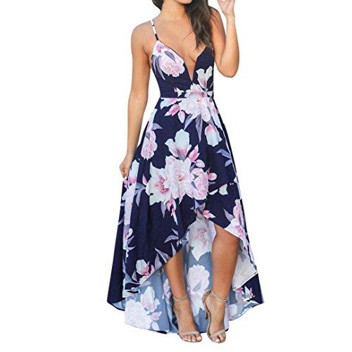 Women Boho Beach Dress, Balakie Ladies Slingless V-Neck Irregular Hem Floral Printed Evening Party Dresses (S, Navy)