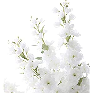 "Skyseen Set of 5 Stems 41"" Artificial Antirrhinum Snapdragon Silk Delphinium Flowers (White) 10"