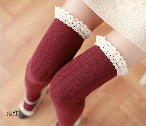 Burgundy Winter Women Girls Lace Over The Knee Socks Thigh Socks Female Twist greenical Cotton Socks Stockings high Socks (color   Burgundy) Leg Warmers