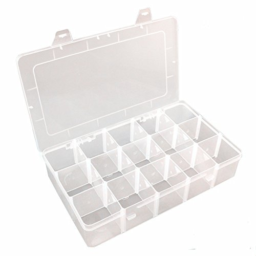 Plastic Jewelry Box Organizer Storage Container With Adjustable Dividers 15(Large)Grids by Rekukos