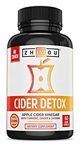Zhou Nutrition Cider Detox Apple Cider Vinegar Capsules with Ginger, Turmeric & Cayenne, Max Strength Thermogenic Formula for Improved Digestion, Detox, Heart Health
