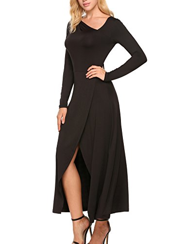Zeagoo Women Long Sleeve Asymmetric Collar Front Split Cocktail Party Maxi Dress