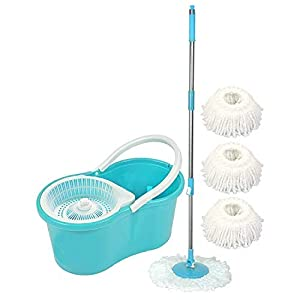 Uspech Spin Bucket Mop with 3 Refills- Super Absorbent Refills for All Type of Floors, 360 Degree Spin Bucket, 180…