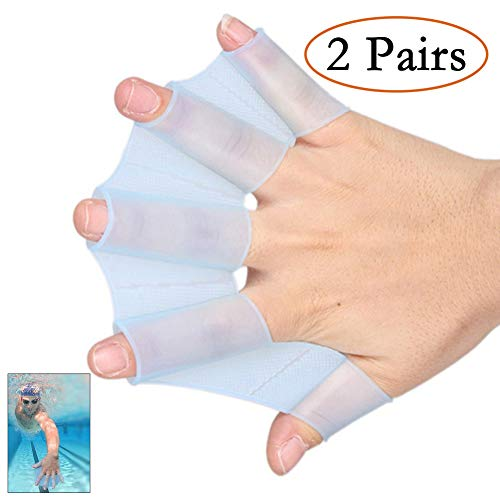 Neepanda Frog Silicone Swimming Fins Handcuffs Flippers HydraHand Hand Paddles Swim Palm Finger for Kids Men Women Swimming Surfing Diving Water Exercise Training-Increased Water Resistance(M, Blue)