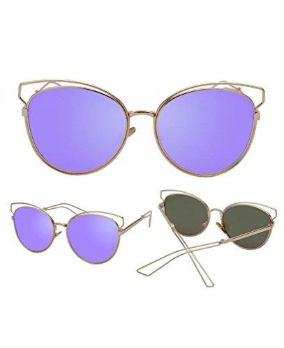 de Lavanda HUHUXIAOWU de Marco Sol Sol Reflectantes Gran de Película de Gafas Película Personalidad Negra Dorado Color Gafas de Retro púrpura Marco Nuevas W1qg1r0FO