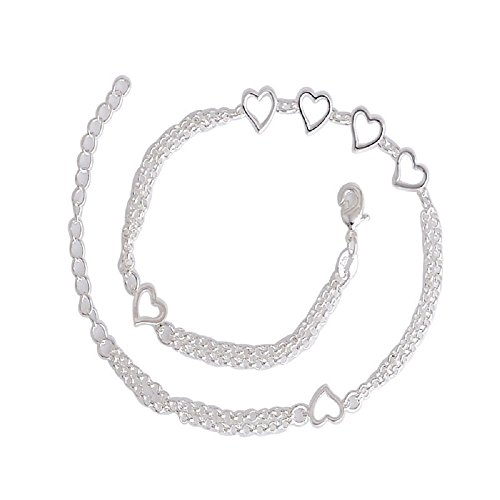 MDeeLuv Silver Sexy Chain Link Beach Anklets Heart Pendant 30cm Chain Bracelet Jewelry (Sexy Chain Link)