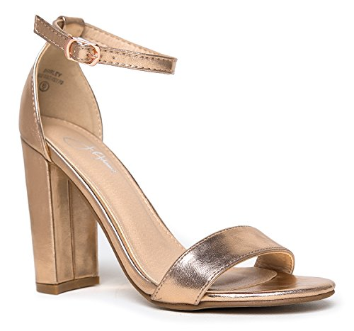 (Strappy Chunky Block High Heel, Rose Gold, 9 B(M))