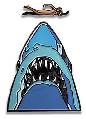 - Jaws Movie Midnight Swim Shark 2 Piece Enamel Metal Logo Pin